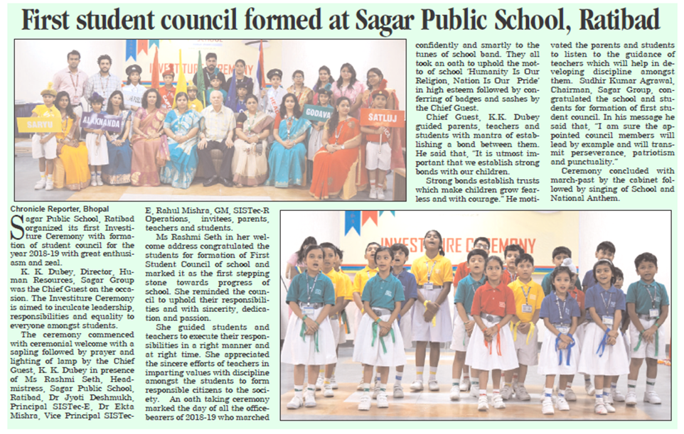 student council sagar public school ratibad, top schools in central india, top 10 cbse schools in bhopal mp